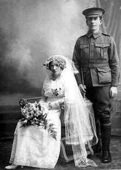 Wedding photo of James Paterson and his bride, Lizzie Cahill, kindly provided by their grandson.