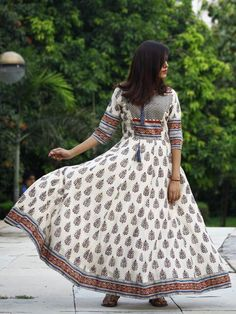 Naaz Ivory Blue Red Black Hand Block Printed Long Cotton Dress with Tassels - Cotton Long Dress, Cotton Dresses, Buy Dresses Online, Maxi Gowns, Asymmetrical Dress, Stylish Dresses, Dress Codes, Indian Dresses, Dress Collection