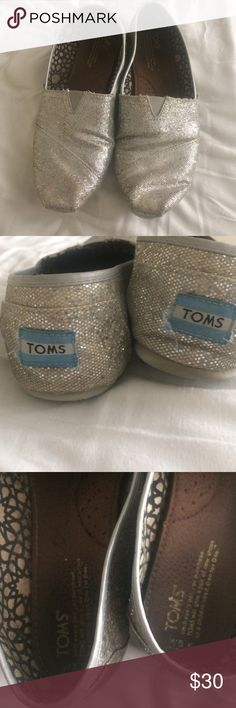 Toms silver sparkly slip-ons Used silver sparkly Toms for sale TOMS Shoes