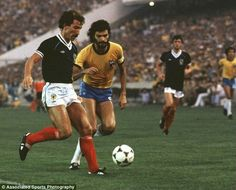 Brazil 4 Scotland 1 in 1982 in Seville. Graeme Souness and Socrates in action in the Group F clash at the World Cup Finals.
