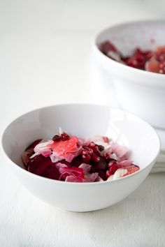 raw beet & fennel salad with cranberries, grapefruit & pomegranate seeds