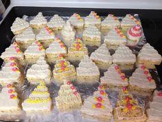Rice Krispie treat wedding cakes! www.AWeddingForEveryone.com