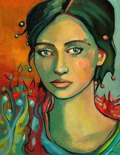 """""""Bright Eyed Woman"""" by Keelyart Paintings: This is a very colorful painting of a woman with light colored eyes.  It has a fantastic quality to it, with ornate and stylized colorful organic shapes patterened around her."""