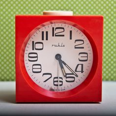 Retro Red Plastic Alarm Clock From Germany (GDR) Ruhla