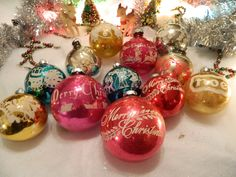 Lot of 12 Vintage Stenciled Antique Christmas Ornaments