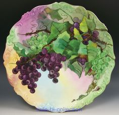"1910 LIMOGES FRANCE HAND PAINTED 13.5"" GRAPES CHARGER ARTIST BREMMERS"
