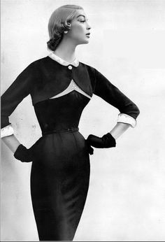 1954 Jean Patchett in slim fitting dress and bolero by Beni Clair for Paul Parnes, Harper's Bazaar