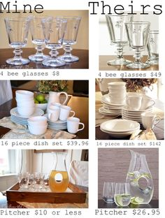 How to find the look for less.                                                        Dinnerware Doppelganger! How to find look alike dishes for Ballards, Pottery Barn, Crate & Barrel, etc.