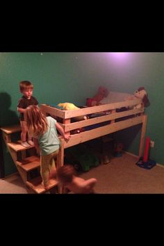 DIY toddler loft bed. Great for more play/storage space! Huge hit with the kiddos :) thanks daddy!!
