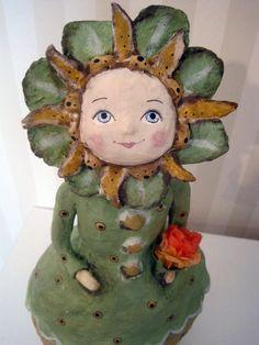 folk art papier mache art doll OOAK Little Ms by Joannabolton, $195.00