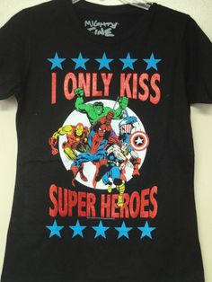 Marvel Comics Super Heroes Black (I Only Kiss Super Heroes with Stars) T-shirt | eBay