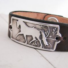 PMC Silver Horse Jewelry, Artisan Handmade Fine Silver Horse Link with Leather Cuff Bracelet via Etsy