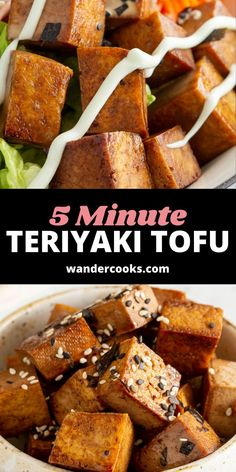 5 minute Teriyaki Tofu bites? Yes, please. Perfect as a quick weeknight meal, toss on top of a sushi bowl, wrap in temaki sushi or eat on their own for a quick snack. Healthy Asian Recipes, Asian Snacks, Asian Desserts, Tofu Recipes, Healthy Dishes, Vegetarian Recipes, Easy Japanese Recipes, Japanese Food, Teriyaki Tofu