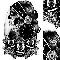 by Tom Gilmour Gypsy Girl Tattoos, Mike Giant, Old School Ink, Flash Design, Tatuagem Old School, Blackwork, Tatoos, Tatting, Body Art