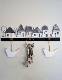 Crafts House Village wooden cutout with pewter textured roofs, kit form from Mimmic Gallery and Studio Wooden Crafts, Clay Crafts, Home Crafts, Diy And Crafts, Arts And Crafts, Paper Crafts, Clay Houses, Ceramic Houses, Clay Christmas Decorations