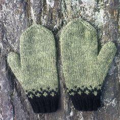 Icelandic Mittens Hand Knit Celery Green, Black Lett Lopi / Icelandic Wool