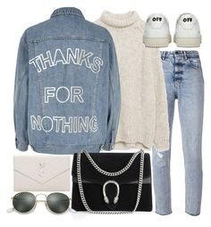 """""""Untitled #20938"""" by florencia95 ❤ liked on Polyvore featuring Golden Goose, Zara, River Island, Gucci, Off-White, Ray-Ban and Yves Saint Laurent"""