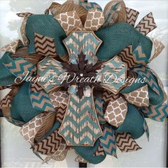 Cross Burlap Wreath with Chevron and Quatrefoil ribbons  Great for all year long Www.facebook.com/jayneswreathdesigns