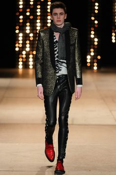 Saint Laurent Men's RTW Fall 2014. The skinny fit leather pants