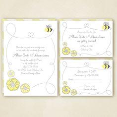 Honey Bee Wedding Invitation Set  PRINTABLE