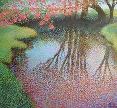 "Ton Dubbeldam (Holland, b. 1957) ""Waterspiegeling"" Impressionist Landscape, Post Impressionism, Contemporary Landscape, Landscape Art, Landscape Paintings, Stippling Art, Painting Lessons, Beautiful Paintings, Flower Art"