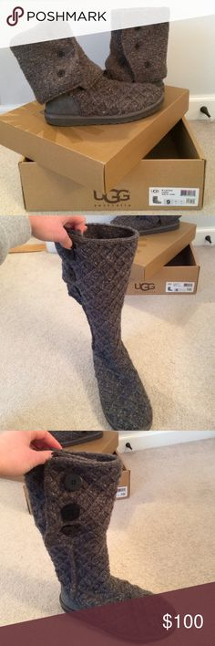 grey lattice cardi ugg boots lattice cardi uggs, in great condition. as you can see from the bottoms they have been worn very little and and the sweater has not been weathered at all! I even have the box still which shows how well taken care of they are UGG Shoes Winter & Rain Boots