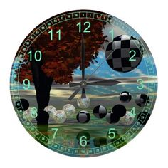 Crystal Garden, Abstract Green Gold Light Clock #PODpinparty #dianeclancy