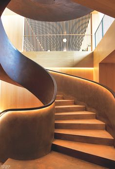 Mecanismo's Minimalist Vision for Akelarre Hotel in San Sebastián Relies on Spanish Materials staircase design Mecanismo's Minimalist Vision for Akelarre Hotel in San Sebastián Relies on Spanish Materials Railing Design, Staircase Design, Hotels In San Sebastian, Stair Lighting, Stairway To Heaven, Spiral Staircase, Hotel Lobby, Cool House Designs, Stairways