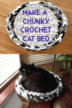 Crochet cat bed chunky giant yarn crochet hook tutorial - - Make a crochet cat bed with this tutorial using a giant ball of yarn and a big crochet hook. Sure to be a hit with your favorite cat. Crochet Cat Toys, Crochet Animals, Crochet Yarn, Crochet Hooks, Diy Crochet Cat Bed, Crochet Birds, Knitted Dolls, Chunky Crochet, Chunky Yarn