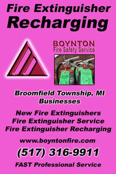 Fire Extinguisher Recharging Broomfield Township, MI (517) 316-9911 This is Boynton Fire Safety Service.  Call us Today for all your Fire Protection needs!Experts are standing by...