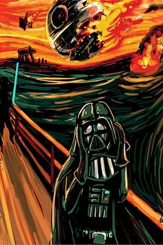 "Reinvention of ""The Scream"" with Darth Vader. Star Wars Fan Art, Star Wars Film, Star Wars Poster, Star Trek, Memes Lol, Funny Memes, Le Cri, Funny Films, Star Wars Images"