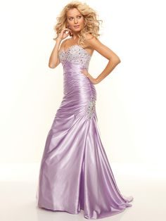 Trumpet/Mermaid Sweetheart Elastic Woven Satin Floor-length Rhinestone Prom Dresses at pickedlooks.com