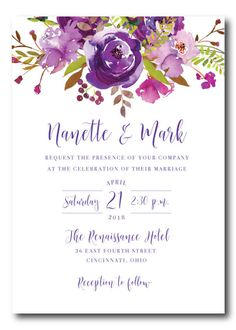 Soft, shades of purple watercolor peonies and roses against a pristine white background make this the perfect wedding invitation! This listing is for a digital printable wedding invitation template. A high resolution PDF will be sent to you to print yourself.  Before you think you might be going the cheaper route to get them printed locally, Posh Paper does provide quality digital printing at an affordable cost and provides white, matching solid pink or shimmer pink or other color, or lined…