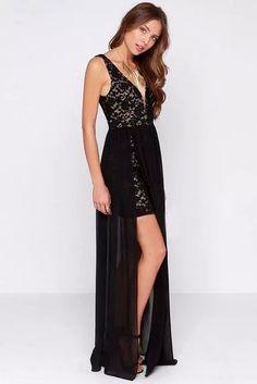 LUCLUC Black V-neck High-Low Lace Dress, women fashion