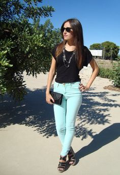 Mint pants outfit idea