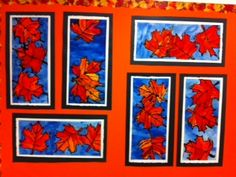 Grade three leaves. Black glue and water colour paint.