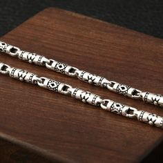 4 mm Men's Sterling Silver Carved Tube Chain - Jewelry1000.com