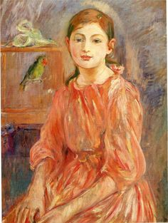 """""""JULIE MANET IN AN ORANGE DRESS"""" Artist: Berthe Morisot"""