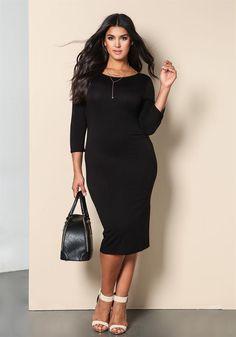 Plus Size Clothing | Plus Size Jersey Knit Midi Dress | Debshops