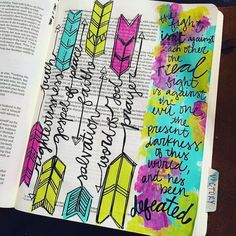 "Anything with Arrows he my heart but these?!? Of my grapes!  #Repost @lynzeebrooke ・・・ Because we can't forget who the real enemy is. Also, read ""This Present Darkness"" by Frank Peretti. #illustratedfaith #biblejournaling #armorofGod #alllivesmatter"