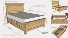 DIY Farmhouse Storage Bed With Storage Drawers How to make -> http://www.goodshomedesign.com/diy-farmhouse-storage-bed-with-storage-drawers/ - Home Design - Google+