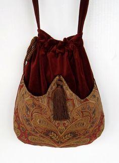 Rust Velvet Pocket Bag  Boho Bag  Tapestry by piperscrossing, $40.00