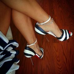 Black and White Striped Christian Louboutin Red Bottoms Open Peep Toe High Heels with Ankle Strap