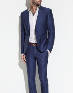 Picked this bad boy up yesterday! Blue is the new black for grooms and butch brides! Zara Structured Suit: Cost-effective and perfect for your wedding party, they now can look just as clean-cut as you and save a pocket full of change! Available at Zara for $189 (blazer) and $89.90 (trousers).