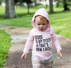 Jesus Is My Rock Hoodie - Baby Pink