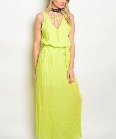 Lime Tie-Neck Blouson Maxi Dress