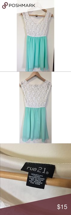 Rue 21 Dress White & teal Rue 21 dress. Size small. Has been worn a few times but still in good condition. Rue 21 Dresses