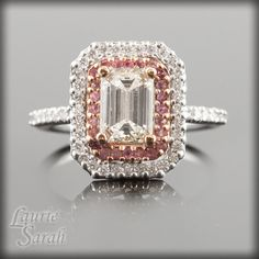 Emerald cut ring with double halo