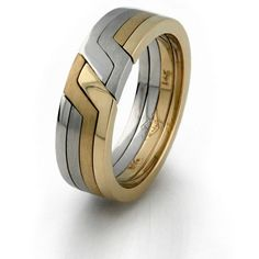 14k yellow white rose gold tricolored 4 band puzzle ring.