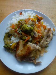 kuře s rýží na zelenině